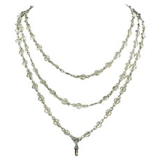 Victorian Long Guard Silver Chain Necklace