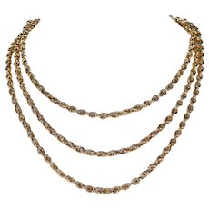 Antique French Long Guard Chain 52 inches 18k Gold