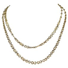 Vintage French Gold Long Chain Necklace 34 inches