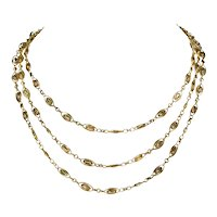 Exquisite French Long Guard Chain Necklace 18k Gold c. 1880