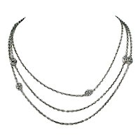 Antique French 55 inch Long Guard Chain Necklace in Silver, c. 1900
