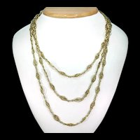 Fabulous French Antique 18k Gold Long Guard Chain 63 inches