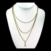 Antique Victorian 60 inch Long Gold Watch Guard Chain Necklace