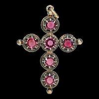 Antique French Garnet Cross Pendant 18k Gold