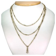Antique Victorian Gold Paperclip Link Chain Necklace 55 inches  9k