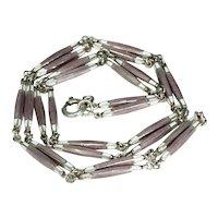 Edwardian Purple White Enamel Silver Watch Chain Necklace