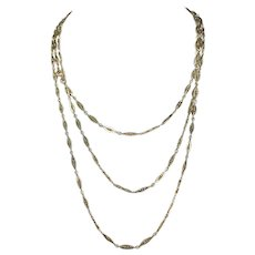 """Antique French 60"""" Long Guard Chain Necklace in 18k Gold, c. 1900"""