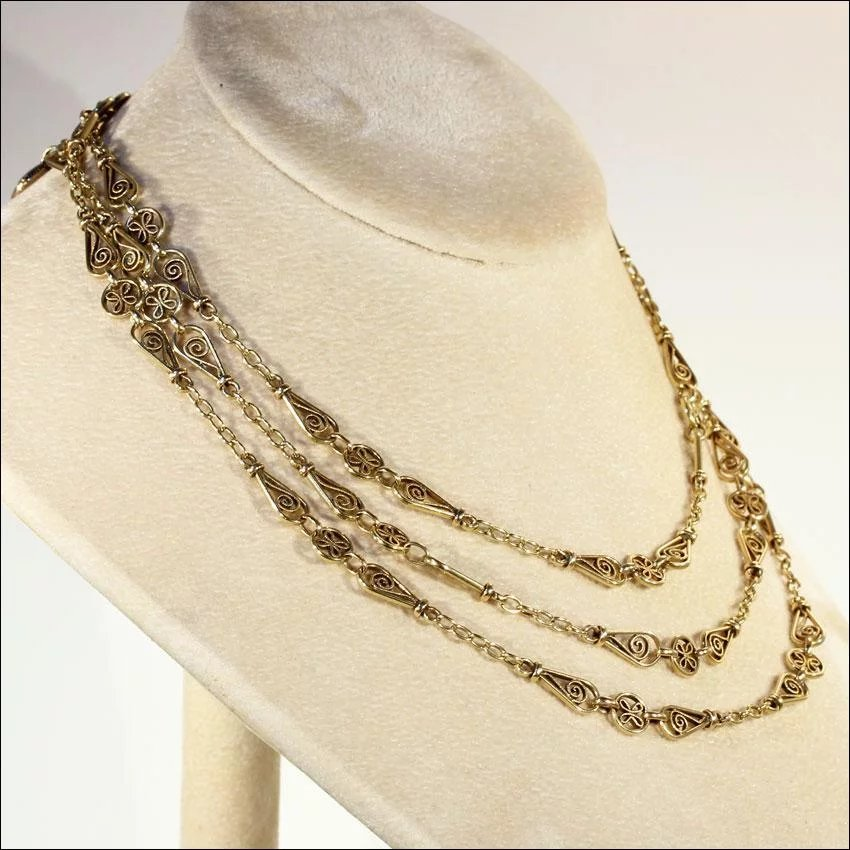 Antique 50 Inch Long Guard Chain Necklace In 18k Gold With