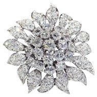 Vintage Diamond Sunflower Clip Brooch by Chaumet, 6ctw in Platinum, Pin