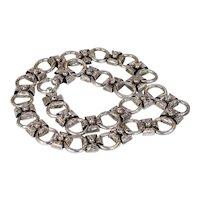 "Antique Victorian Silver Collar Necklace 18"" Long"