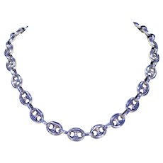Victorian Silver Anchor Link Collar Chain Necklace
