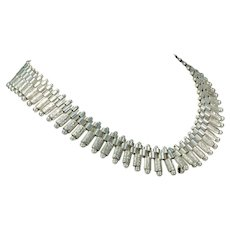 Antique Victorian Collar Necklace Wide Fringe Sterling Silver