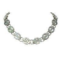 Victorian Silver Collar Necklace Garter Buckle Motif