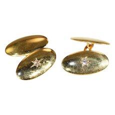Antique Edwardian Classic Mens Diamond Cufflinks in 15k Gold