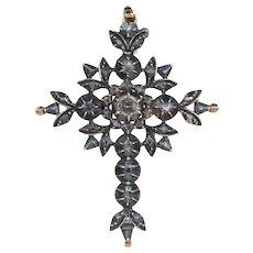 Antique Georgian Diamond Flemish Cross in 14k Gold and Silver