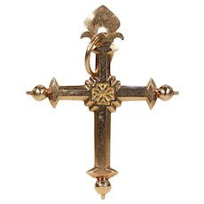 Antique 18k Gold Jeanette Cross French c. 1880