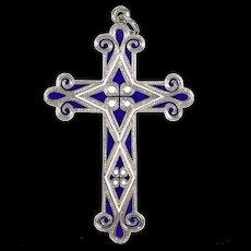 Scottish Victorian Silver Cross Blue White Enamel Pendant