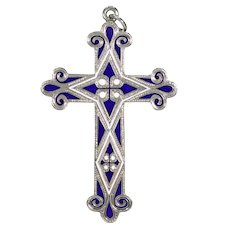 Scottish Victorian Silver Cross Blue White Enamel Pendant