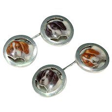 Antique Silver Enamel Hound Dog Cufflinks