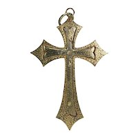 Victorian Colonial Indian Koftgari Cross Antique Pendant