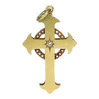 Victorian 15k Gold Cross Pendant Diamond Pearls