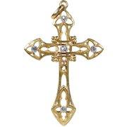 French Art Nouveau Diamond Gold Cross