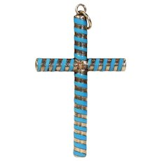 Edwardian Gold Blue Enamel Cross Pendant