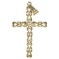 Vintage 50s French Gold Cross Pendant