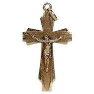 Vintage Art Deco French Gold Crucifix Cross Pendant