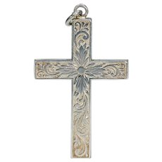 Victorian Silver Engraved Cross