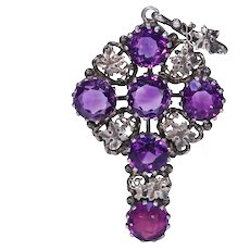 Antique Arts & Crafts Silver Amethyst Cross Pendant by Kate Eadie