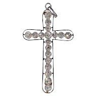 Edwardian European Cut Diamond Cross Pendant Brooch