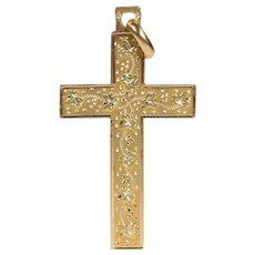Antique French Two Tone 18 karat Gold Cross Ivy Leaves