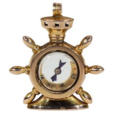 Gold Victorian Ships Wheel Compass Pendant Fob