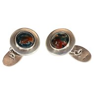 Vintage Art Deco Cufflinks, Silver and Moss Agate