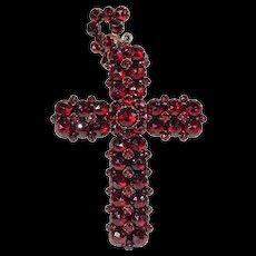 Antique Victorian Bohemian Garnet Cross