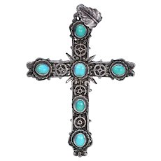 Victorian Silver Turquoise Cross Pendant