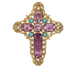Georgian Pink Topaz Cross Pendant Brooch with Pearl and Turquoise