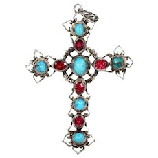 Antique Austro-Hungarian Turquoise Garnet Silver Cross Pendant