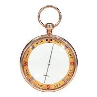 Large Gold Captain's Compass Pendant Fob Francis Barker