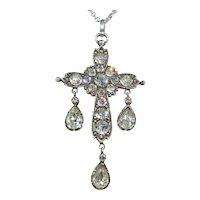 Antique French Paste Pendant Cross Silver