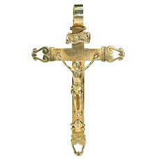 18th Century 18k Gold Cross Crucifix Pendant