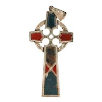 Victorian Scottish Agate Gold Cross Pendant Celtic