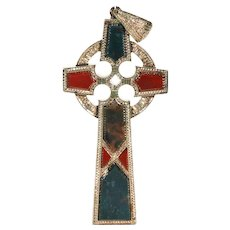 Victorian Scottish Agate Gold Cross Pendant Celtic