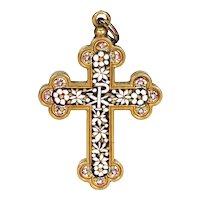 Antique Gold Micro-mosaic Cross Pendant 18k