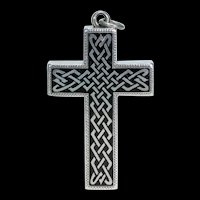 Victorian Celtic Black Enamel Silver Cross Pendant