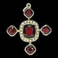 Late Georgian Garnet Pearl Cross Pendant