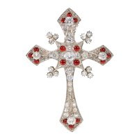 French Victorian Ruby Red Enamel Diamond Cross Brooch Pendant In Original Fitted Box
