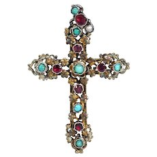 Antique Turquoise Austro-Hungarian Cross Pendant with Garnet and Pearl