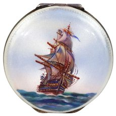 Guilloche Enamel Ship Motif Compact with Mirror Sterling Silver